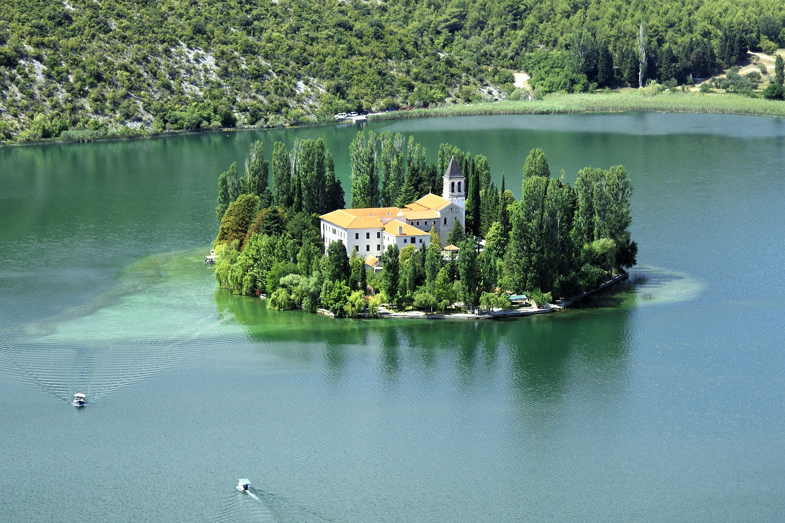 Cycling, bikes, walking, sightseeing, swimming, Visovac Island, National Park Krka River